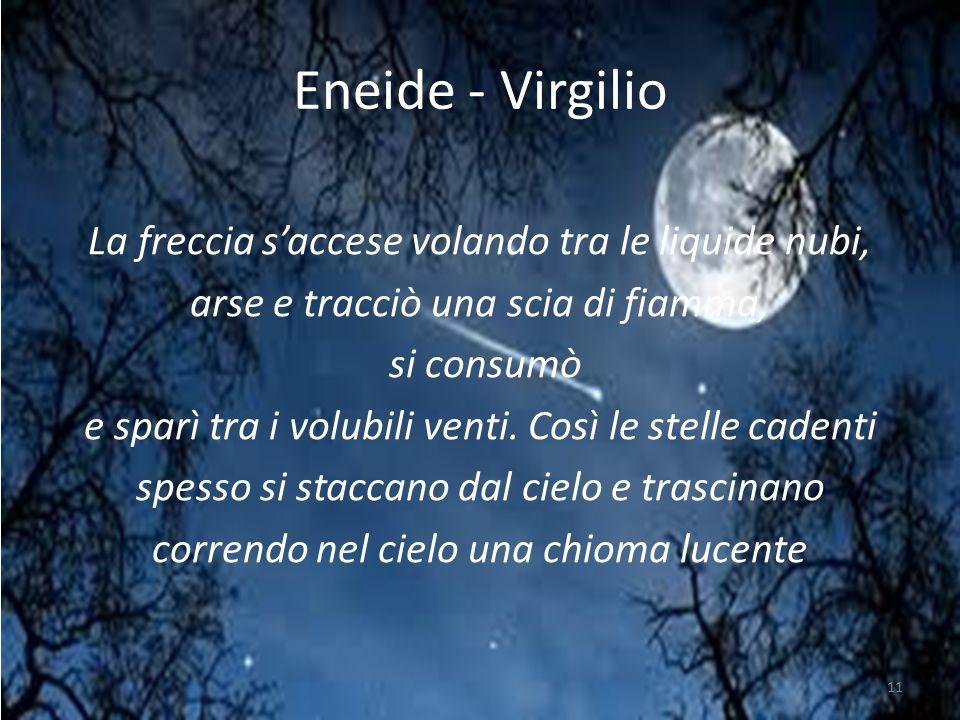 Eneide - Virgilio La freccia saccese volando tra le liquide nubi, arse e tracciò una scia di fiamma, si consumò e sparì tra i volubili venti.