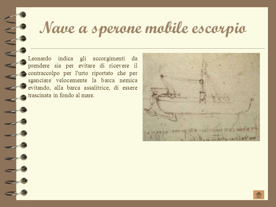Nave a sperone mobile escorpio Leonardo indica gli accorgimenti da prendere sia per evitare di ricevere il contraccolpo per l'urto riportato che per s