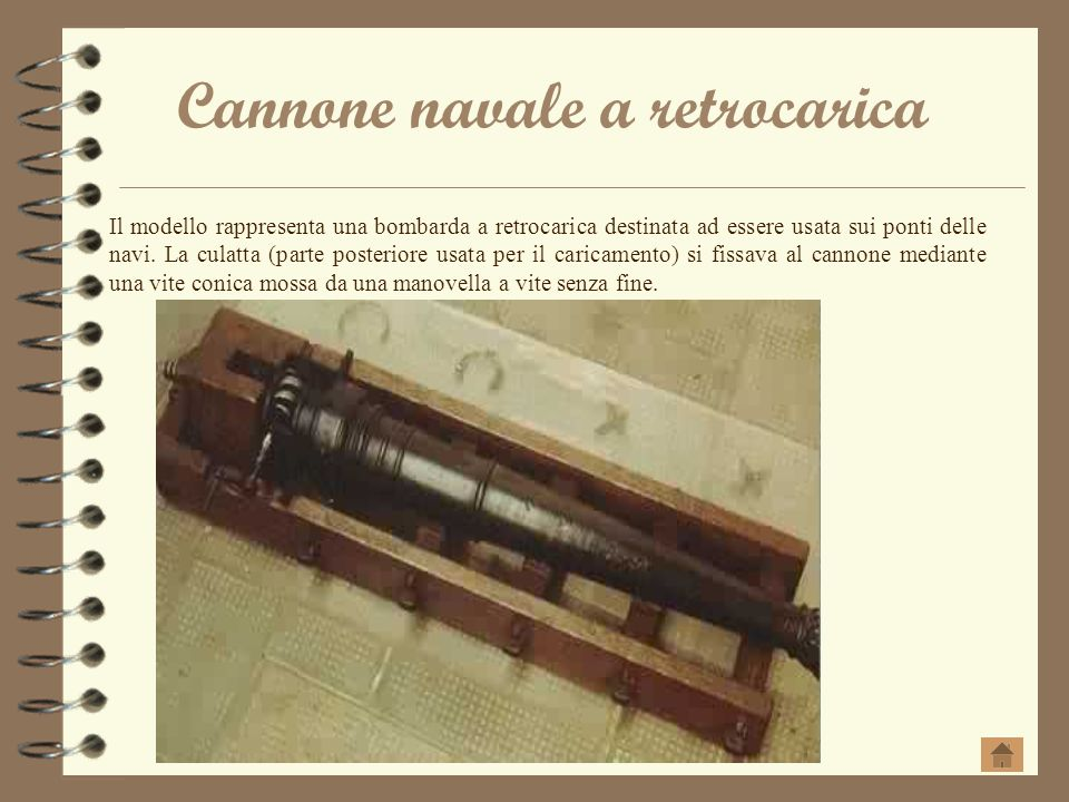 Cannone navale a retrocarica Il modello rappresenta una bombarda a retrocarica destinata ad essere usata sui ponti delle navi. La culatta (parte poste