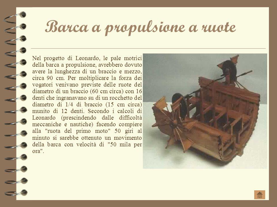 Barca a propulsione a ruote Nel progetto di Leonardo, le pale motrici della barca a propulsione, avrebbero dovuto avere la lunghezza di un braccio e m