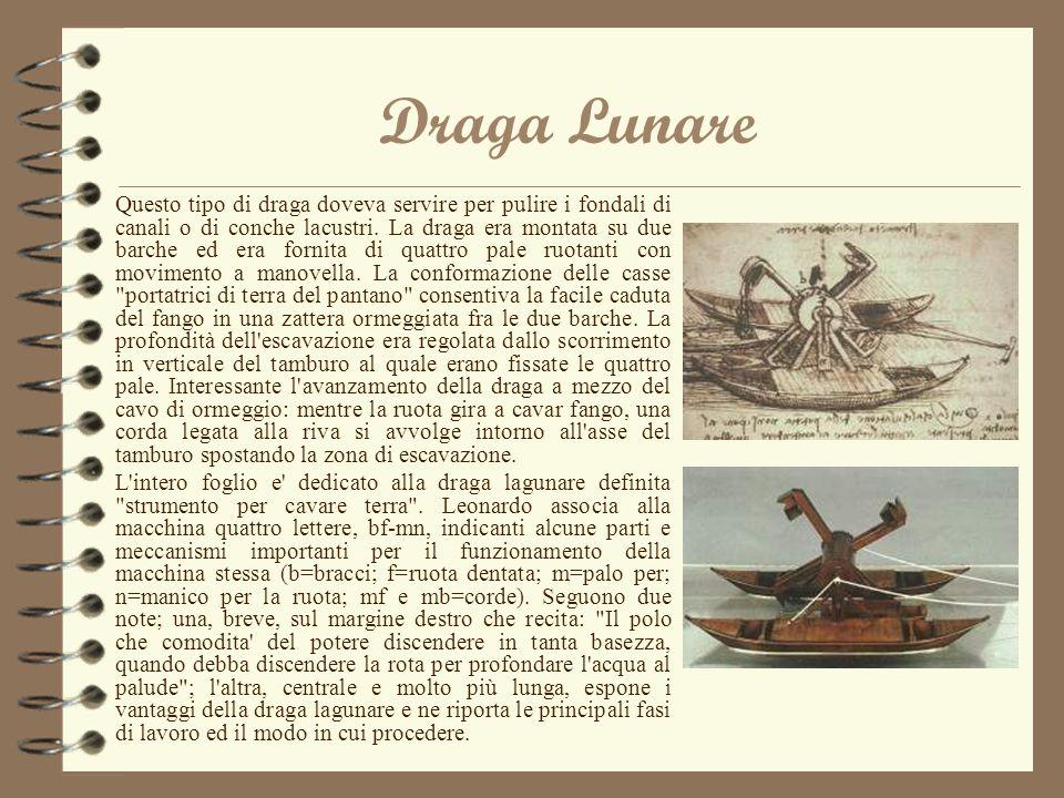 Draga Lunare Questo tipo di draga doveva servire per pulire i fondali di canali o di conche lacustri. La draga era montata su due barche ed era fornit