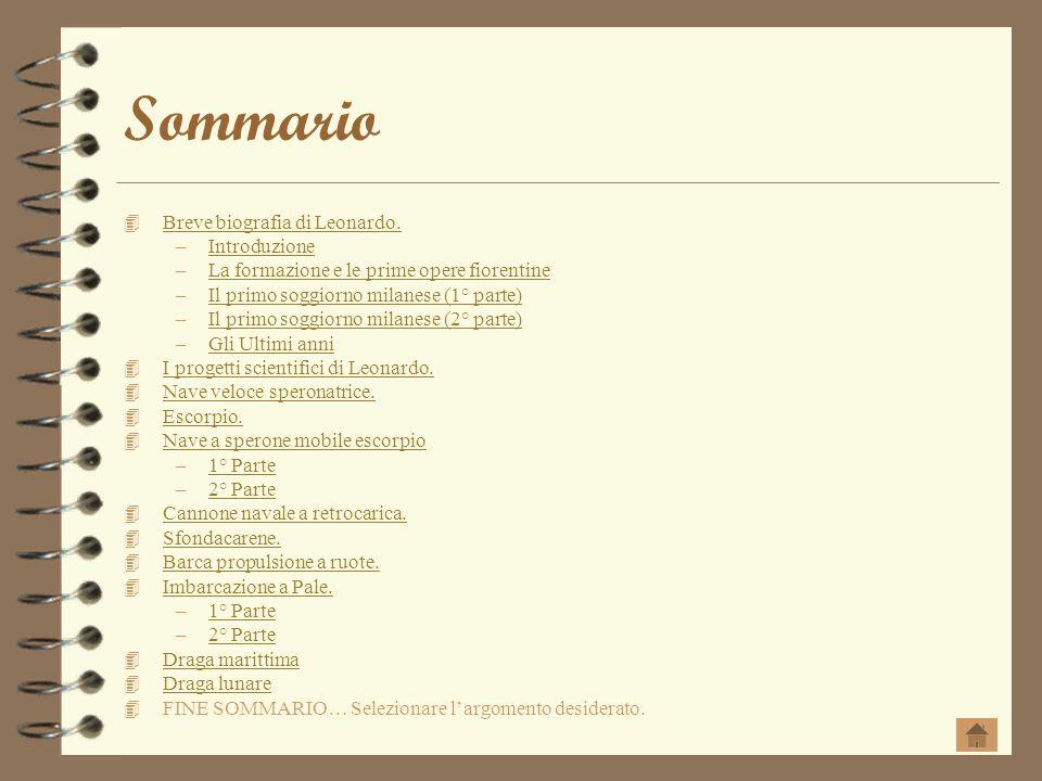 Sommario Breve biografia di Leonardo. –IntroduzioneIntroduzione –La formazione e le prime opere fiorentineLa formazione e le prime opere fiorentine –I