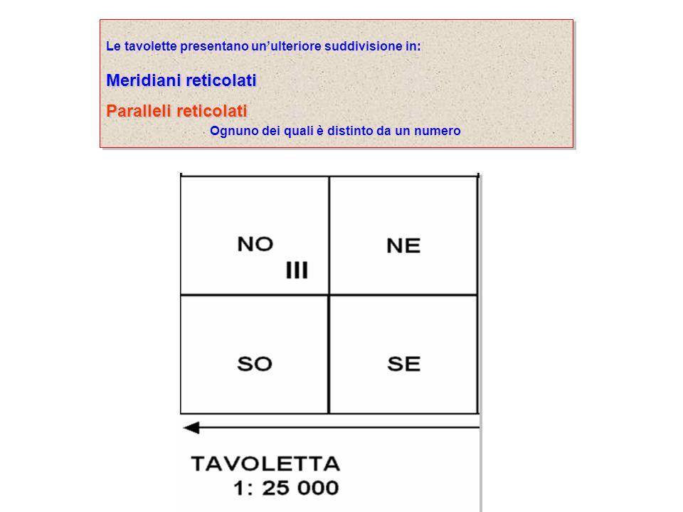Le tavolette presentano unulteriore suddivisione in: Meridiani reticolati Paralleli reticolati Ognuno dei quali è distinto da un numero Le tavolette p