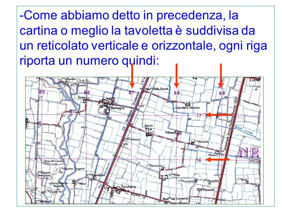 -Come abbiamo detto in precedenza, la cartina o meglio la tavoletta è suddivisa da un reticolato verticale e orizzontale, ogni riga riporta un numero