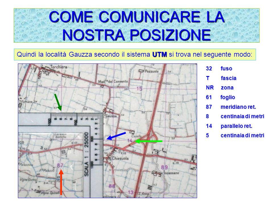 COME COMUNICARE LA NOSTRA POSIZIONE UTM Quindi la località Gauzza secondo il sistema UTM si trova nel seguente modo: 32 fuso T fascia NR zona 61 f ogl