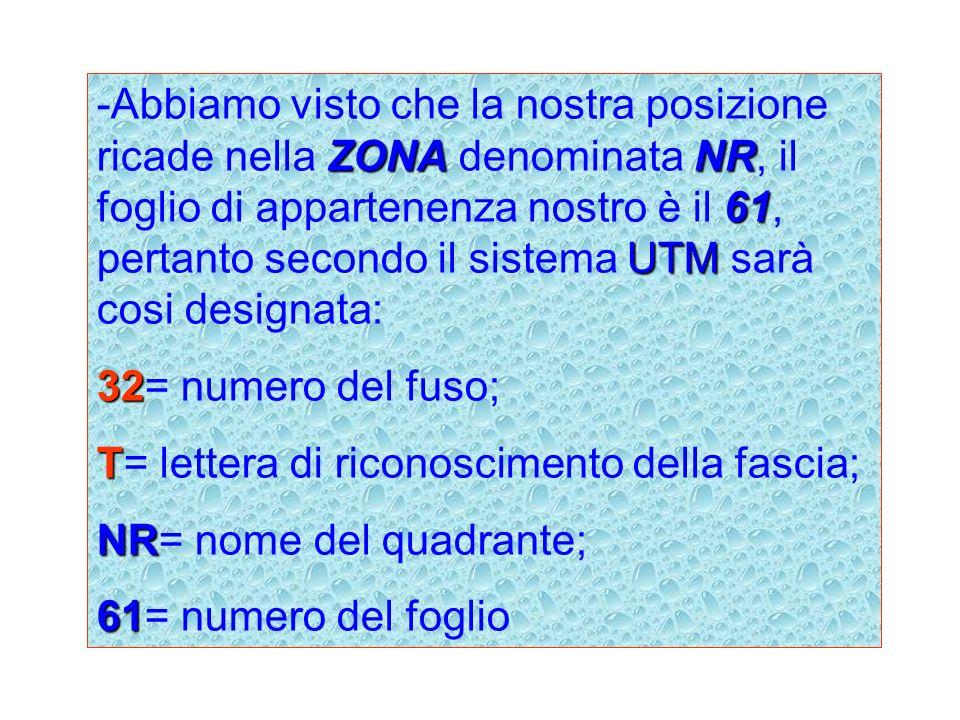 ZONANR 61 UTM -Abbiamo visto che la nostra posizione ricade nella ZONA denominata NR, il foglio di appartenenza nostro è il 61, pertanto secondo il si