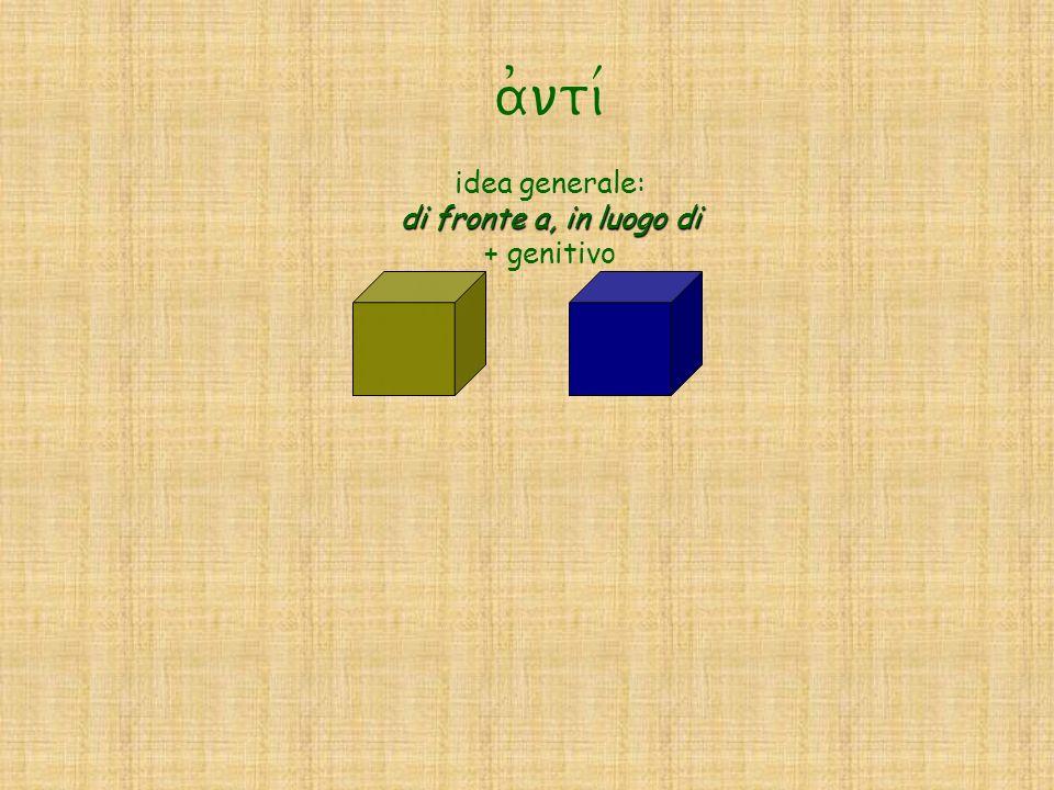 a)nti/ idea generale: di fronte a, in luogo di + genitivo