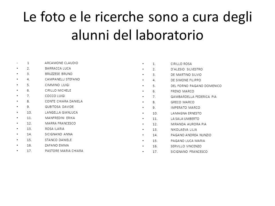 Le foto e le ricerche sono a cura degli alunni del laboratorio - 1 ARCAMONE CLAUDIO 2. BARRACCA LUCA 3. BRUZZESE BRUNO 4. CAMPANELLI STEFANO 5. CIMMIN