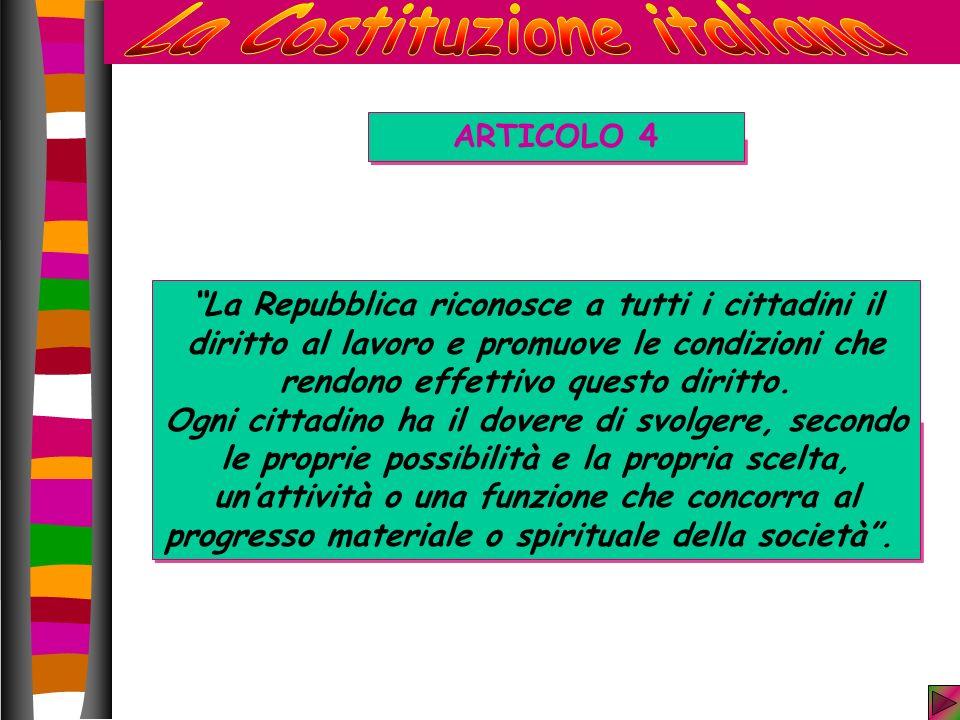 ARTICOLO 4 La Repubblica riconosce a tutti i cittadini il diritto al lavoro e promuove le condizioni che rendono effettivo questo diritto.