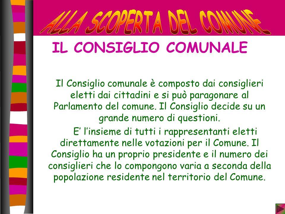 IL CONSIGLIO COMUNALE Il Consiglio comunale è composto dai consiglieri eletti dai cittadini e si può paragonare al Parlamento del comune.