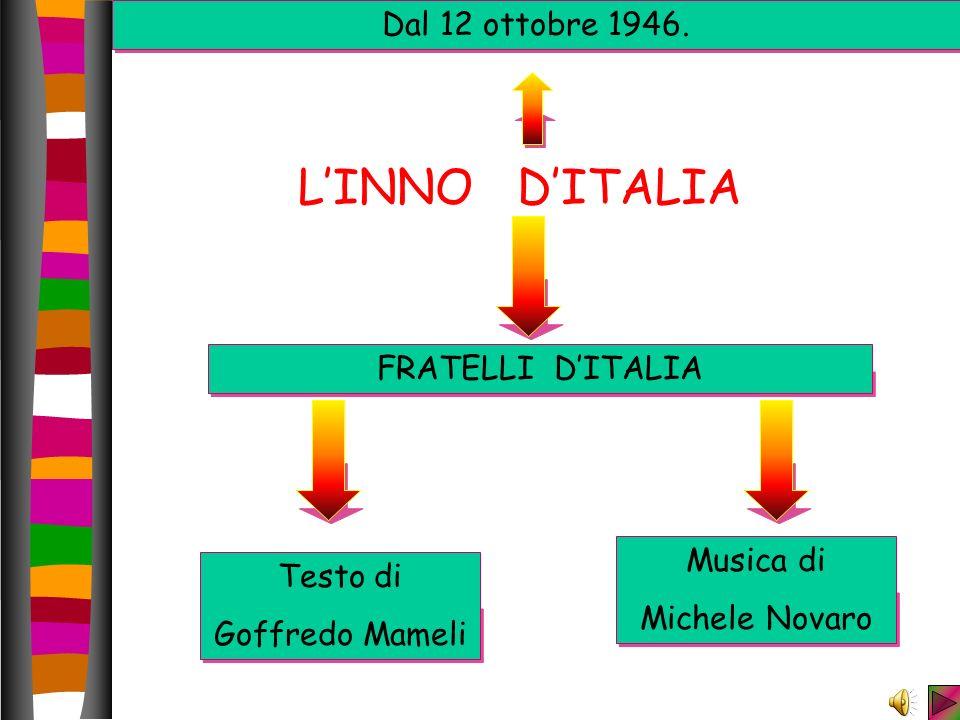 LINNO DITALIA FRATELLI DITALIA Testo di Goffredo Mameli Musica di Michele Novaro Dal 12 ottobre 1946.