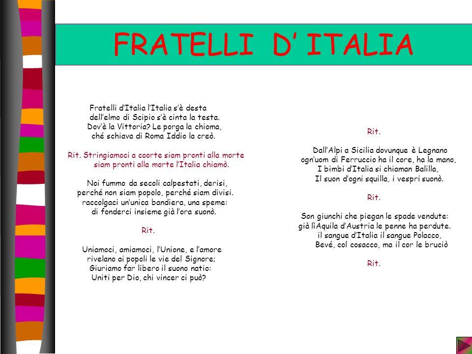FRATELLI D ITALIA Fratelli dItalia lItalia sè desta dellelmo di Scipio sè cinta la testa.