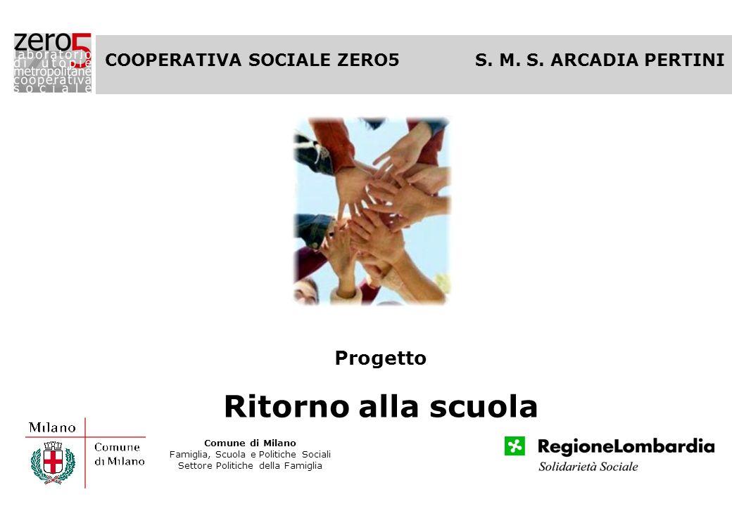 Progetto Ritorno alla scuola Fondazione di Venezia COOPERATIVA SOCIALE ZERO5 S. M. S. ARCADIA PERTINI Comune di Milano Famiglia, Scuola e Politiche So