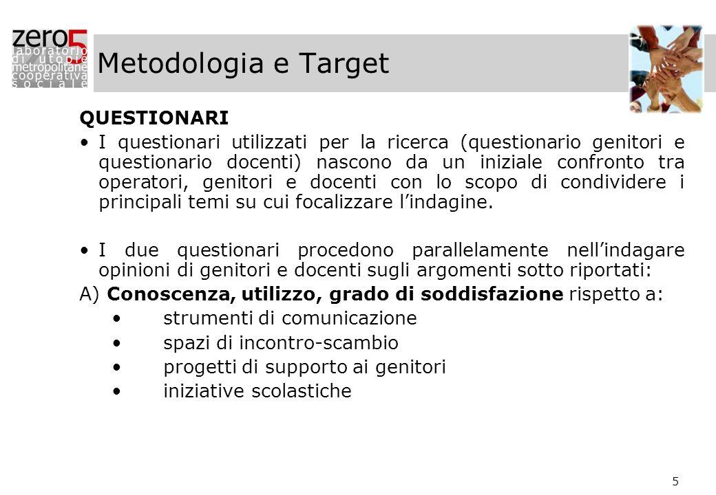 5 Metodologia e Target QUESTIONARI I questionari utilizzati per la ricerca (questionario genitori e questionario docenti) nascono da un iniziale confr