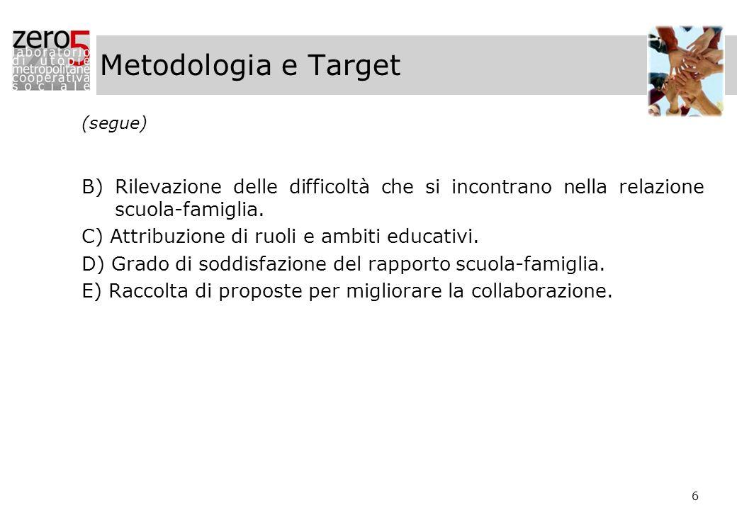 6 Metodologia e Target (segue) B) Rilevazione delle difficoltà che si incontrano nella relazione scuola-famiglia. C) Attribuzione di ruoli e ambiti ed