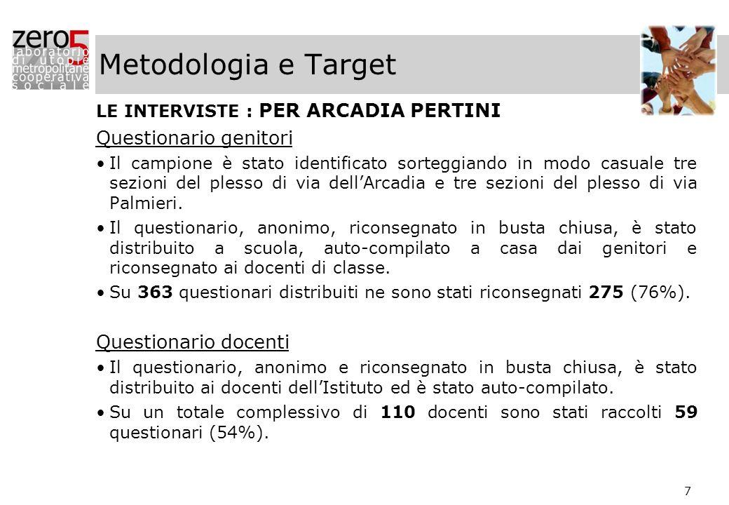 7 Metodologia e Target LE INTERVISTE : PER ARCADIA PERTINI Questionario genitori Il campione è stato identificato sorteggiando in modo casuale tre sez