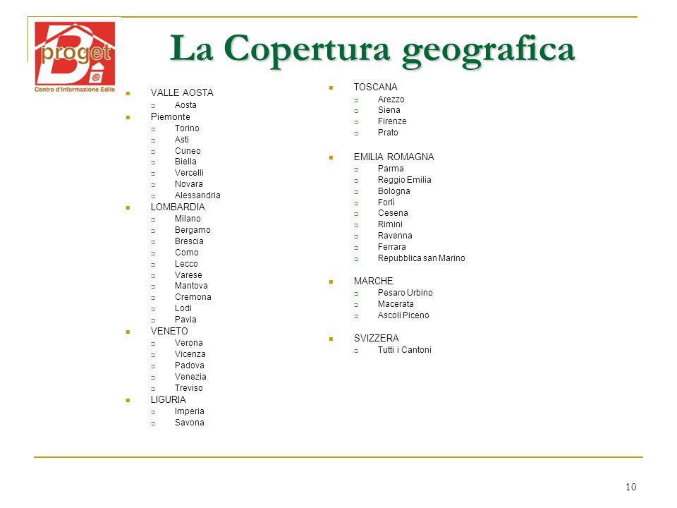 10 La Copertura geografica VALLE AOSTA Aosta Piemonte Torino Asti Cuneo Biella Vercelli Novara Alessandria LOMBARDIA Milano Bergamo Brescia Como Lecco