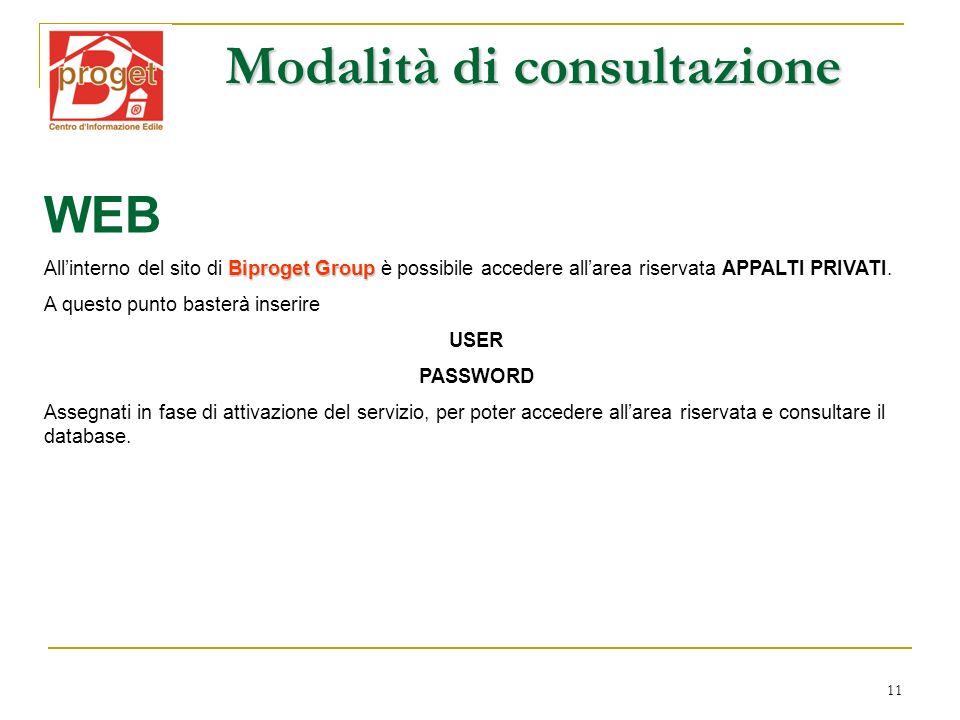 11 Modalità di consultazione WEB Biproget Group Allinterno del sito di Biproget Group è possibile accedere allarea riservata APPALTI PRIVATI. A questo