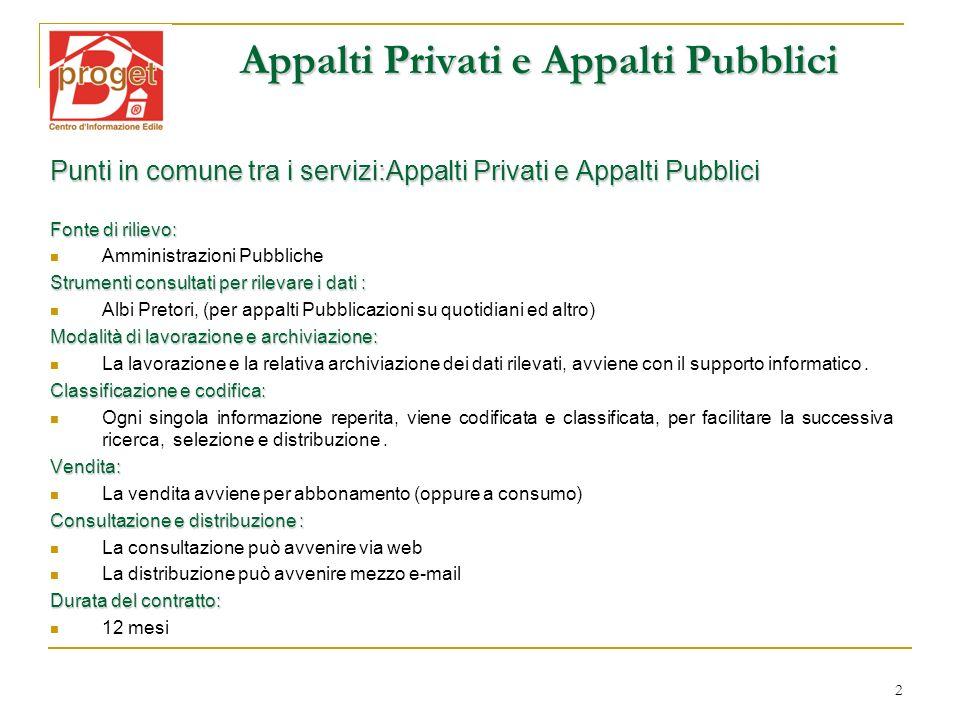 2 Appalti Privati e Appalti Pubblici Punti in comune tra i servizi:Appalti Privati e Appalti Pubblici Fonte di rilievo: Amministrazioni Pubbliche Stru
