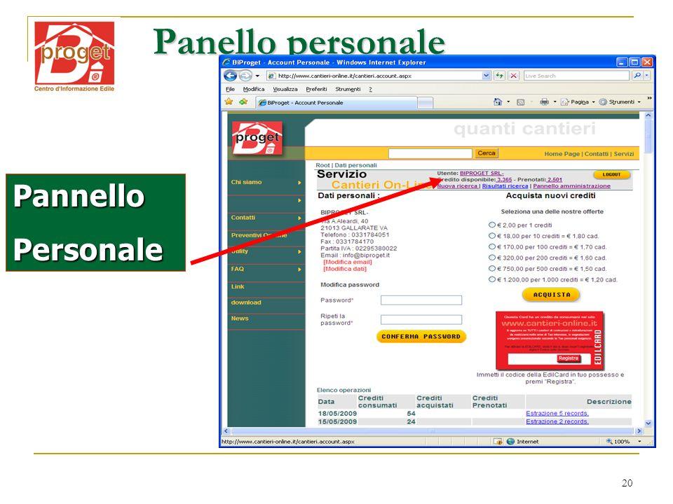 20 Panello personale PannelloPersonale