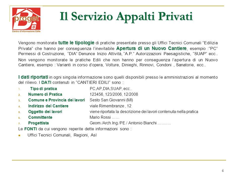6 Il Servizio Appalti Privati tutte le tipologie Apertura di un Nuovo Cantiere Vengono monitorate tutte le tipologie di pratiche presentate presso gli