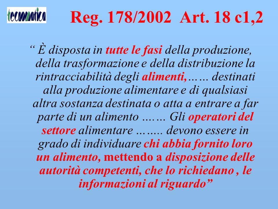 Reg. 178/02 Art. 3 c.15 -Rintracciabilità Interna: Non è richiesta la ricostruzione dellintero percorso allinterno dellazienda. -Entrata in vigore dal