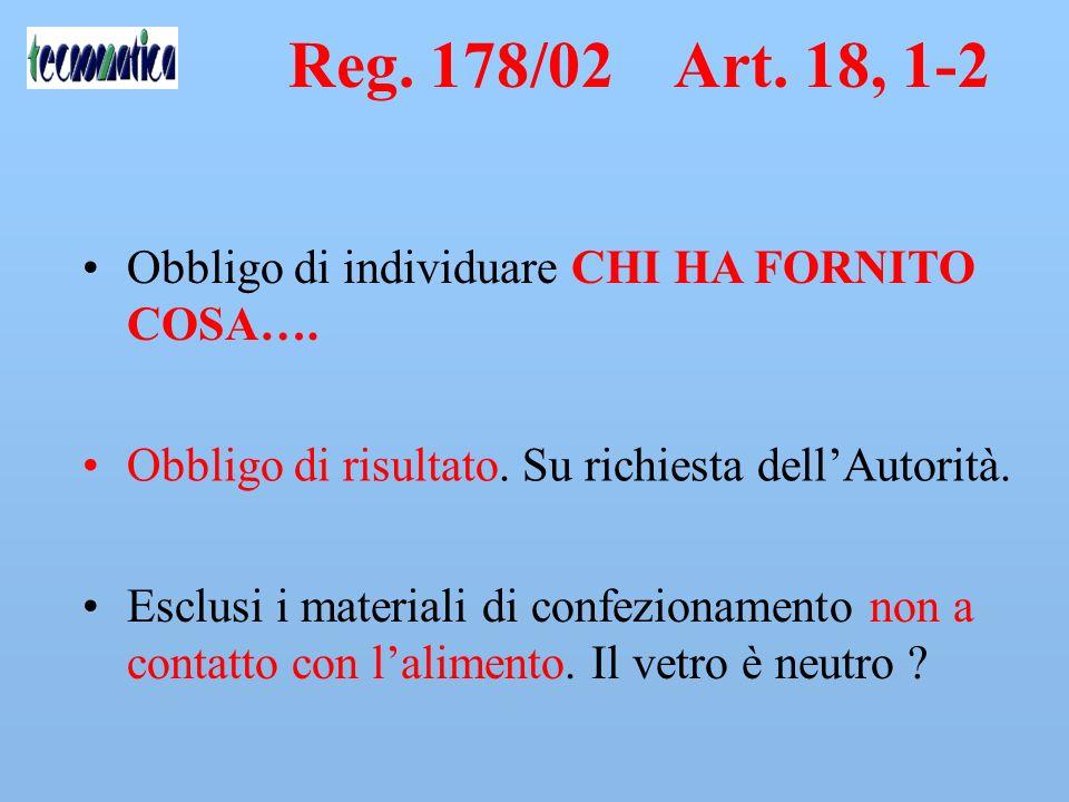 Reg. 178/2002 Art. 18 c1,2 È disposta in tutte le fasi della produzione, della trasformazione e della distribuzione la rintracciabilità degli alimenti