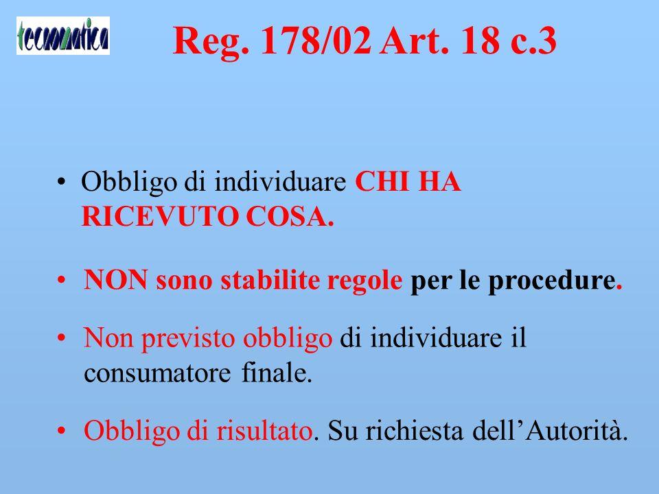 Reg. 178/02 Art. 18 c.3 Gli operatori del settore alimentare… devono disporre di sistemi e di procedure per individuare le imprese alle quali hanno fo