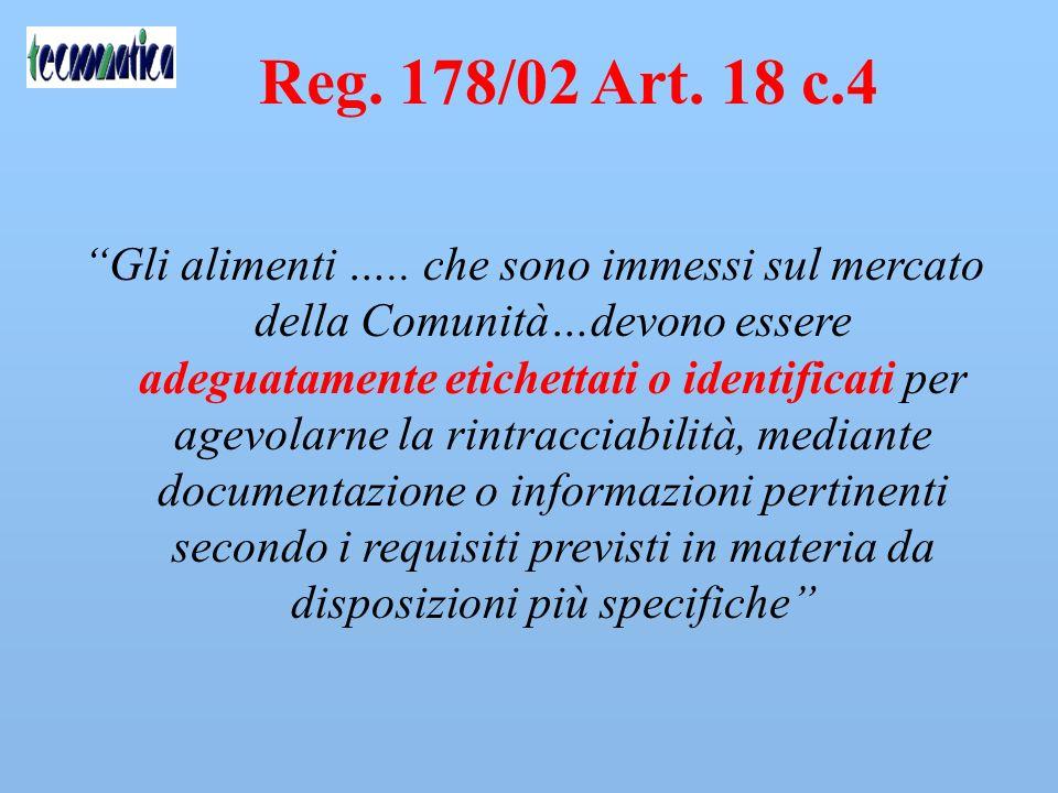 Reg. 178/02 Art. 18 c.3 Obbligo di individuare CHI HA RICEVUTO COSA. Non previsto obbligo di individuare il consumatore finale. Obbligo di risultato.