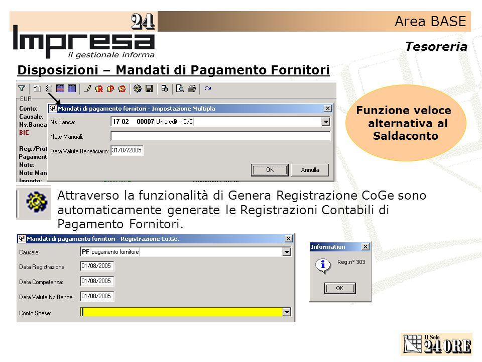 Area BASE Tesoreria Disposizioni – Mandati di Pagamento Fornitori Attraverso la funzionalità di Genera Registrazione CoGe sono automaticamente generat