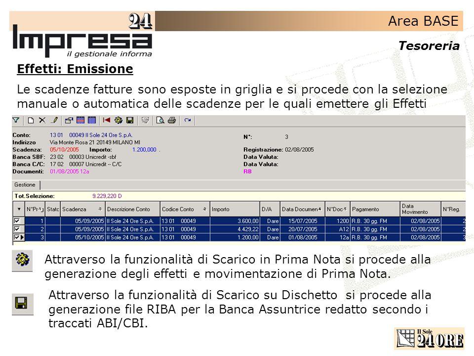 Area BASE Tesoreria Effetti: Emissione Le scadenze fatture sono esposte in griglia e si procede con la selezione manuale o automatica delle scadenze p