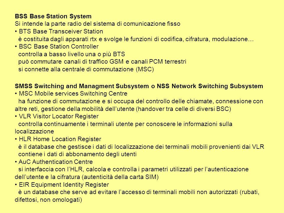 BSS Base Station System Si intende la parte radio del sistema di comunicazione fisso BTS Base Transceiver Station è costituita dagli apparati rtx e svolge le funzioni di codifica, cifratura, modulazione… BSC Base Station Controller controlla a basso livello una o più BTS può commutare canali di traffico GSM e canali PCM terrestri si connette alla centrale di commutazione (MSC) SMSS Switching and Managment Subsystem o NSS Network Switching Subsystem MSC Mobile services Switching Centre ha funzione di commutazione e si occupa del controllo delle chiamate, connessione con altre reti, gestione della mobilità dellutente (handover tra celle di diversi BSC) VLR Visitor Locator Register controlla continuamente i terminali utente per conoscere le informazioni sulla localizzazione HLR Home Location Register è il database che gestisce i dati di localizzazione dei terminali mobili provenienti dai VLR contiene i dati di abbonamento degli utenti AuC Authentication Centre si interfaccia con lHLR, calcola e controlla i parametri utilizzati per lautenticazione dellutente e la cifratura (autenticità della carta SIM) EIR Equipment Identity Register è un database che serve ad evitare laccesso di terminali mobili non autorizzati (rubati, difettosi, non omologati)