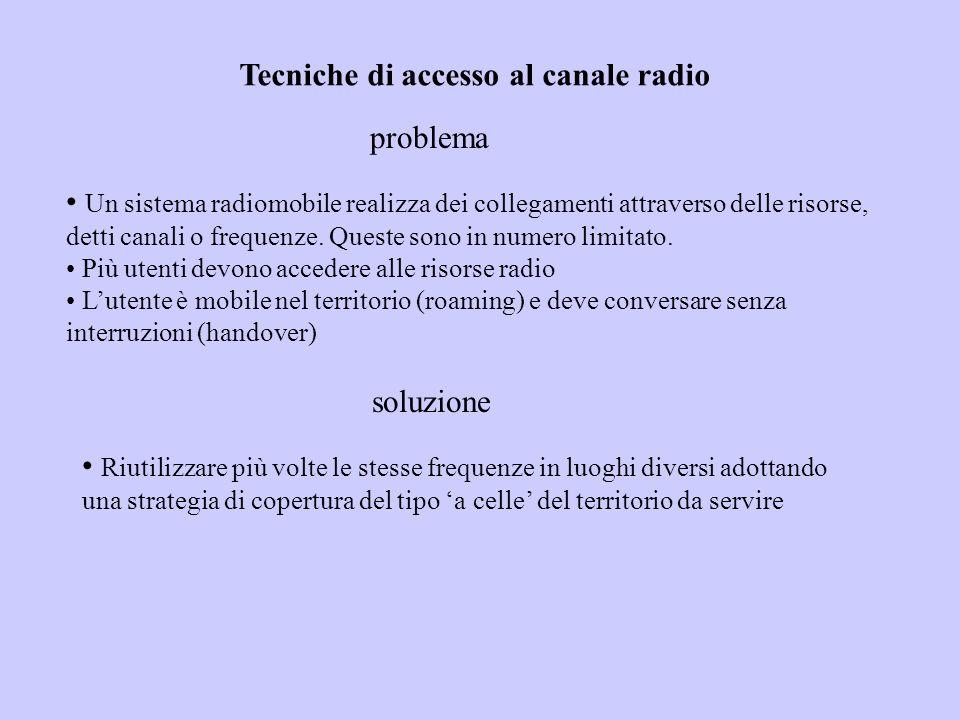 Tecniche di accesso al canale radio problema Un sistema radiomobile realizza dei collegamenti attraverso delle risorse, detti canali o frequenze.