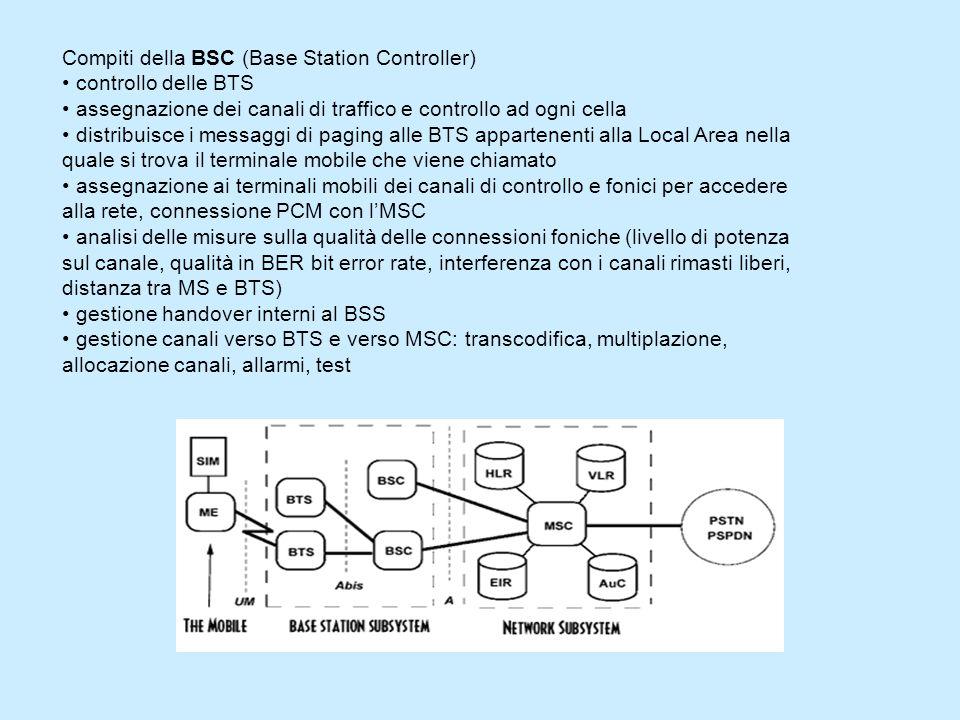 Compiti della BSC (Base Station Controller) controllo delle BTS assegnazione dei canali di traffico e controllo ad ogni cella distribuisce i messaggi di paging alle BTS appartenenti alla Local Area nella quale si trova il terminale mobile che viene chiamato assegnazione ai terminali mobili dei canali di controllo e fonici per accedere alla rete, connessione PCM con lMSC analisi delle misure sulla qualità delle connessioni foniche (livello di potenza sul canale, qualità in BER bit error rate, interferenza con i canali rimasti liberi, distanza tra MS e BTS) gestione handover interni al BSS gestione canali verso BTS e verso MSC: transcodifica, multiplazione, allocazione canali, allarmi, test