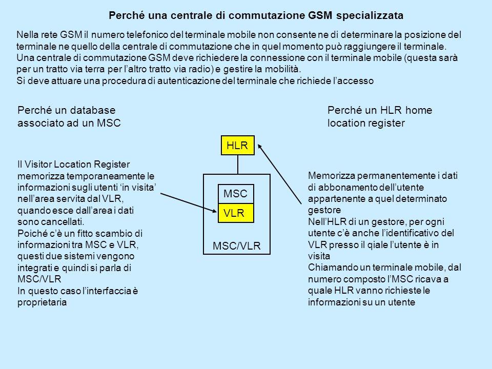 Perché una centrale di commutazione GSM specializzata Nella rete GSM il numero telefonico del terminale mobile non consente ne di determinare la posizione del terminale ne quello della centrale di commutazione che in quel momento può raggiungere il terminale.