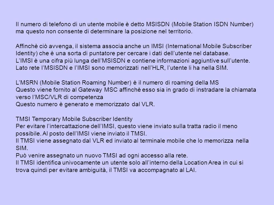 Il numero di telefono di un utente mobile è detto MSISDN (Mobile Station ISDN Number) ma questo non consente di determinare la posizione nel territorio.