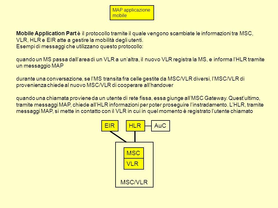 MAP applicazione mobile Mobile Application Part è il protocollo tramite il quale vengono scambiate le informazioni tra MSC, VLR, HLR e EIR atte a gestire la mobilità degli utenti.