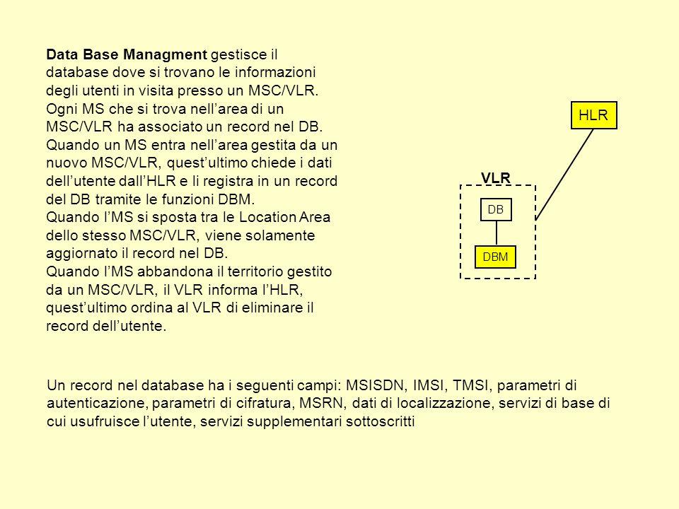 DB DBM VLR Data Base Managment gestisce il database dove si trovano le informazioni degli utenti in visita presso un MSC/VLR.