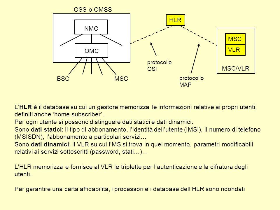 HLR LHLR è il database su cui un gestore memorizza le informazioni relative ai propri utenti, definiti anche home subscriber.