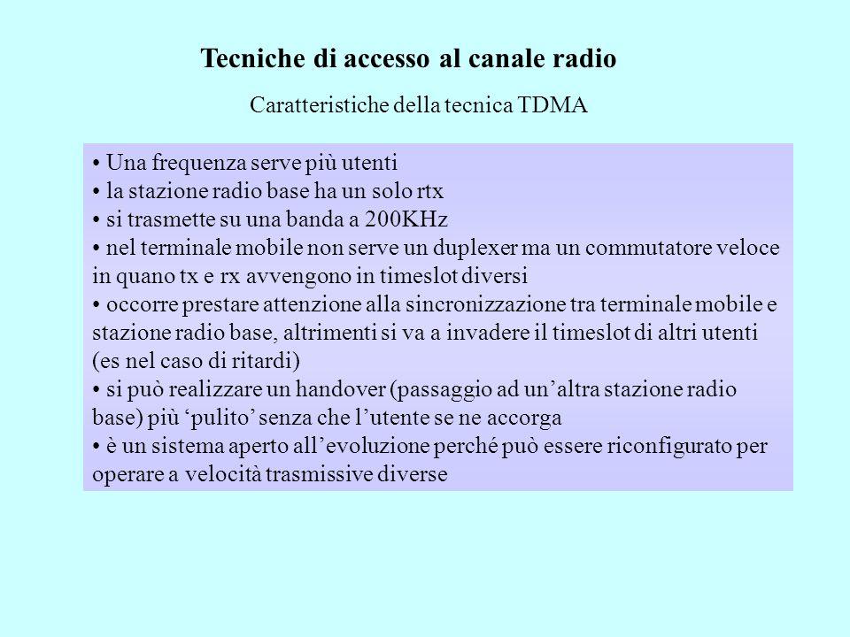 Tecniche di accesso al canale radio Caratteristiche della tecnica TDMA Una frequenza serve più utenti la stazione radio base ha un solo rtx si trasmette su una banda a 200KHz nel terminale mobile non serve un duplexer ma un commutatore veloce in quano tx e rx avvengono in timeslot diversi occorre prestare attenzione alla sincronizzazione tra terminale mobile e stazione radio base, altrimenti si va a invadere il timeslot di altri utenti (es nel caso di ritardi) si può realizzare un handover (passaggio ad unaltra stazione radio base) più pulito senza che lutente se ne accorga è un sistema aperto allevoluzione perché può essere riconfigurato per operare a velocità trasmissive diverse