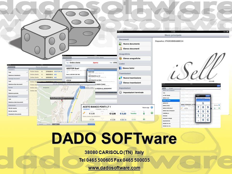 DADO SOFTware 38080 CARISOLO (TN) Italy Tel 0465 500605 Fax 0465 500035 www.dadosoftware.com