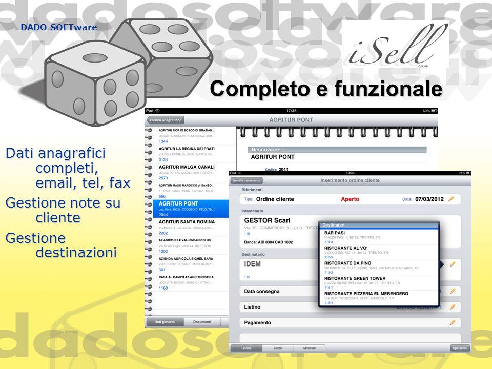 Completo e funzionale Dati anagrafici completi, email, tel, fax Gestione note su cliente Gestione destinazioni