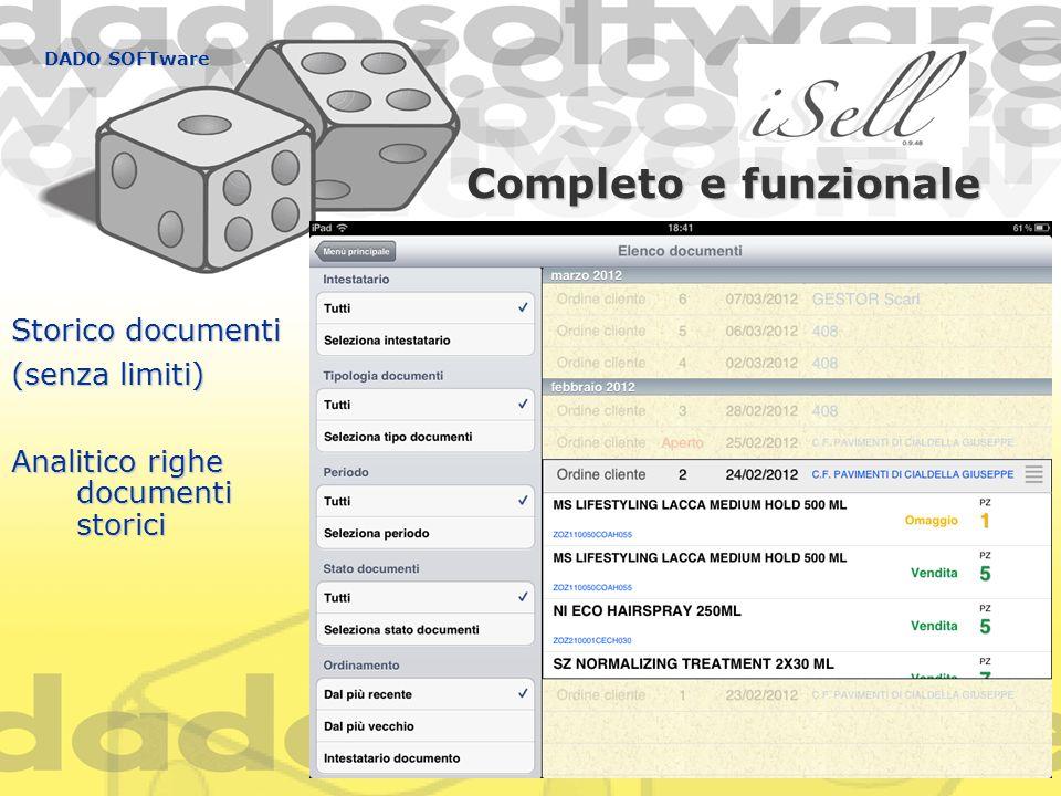 Completo e funzionale DADO SOFTware Storico documenti (senza limiti) Analitico righe documenti storici