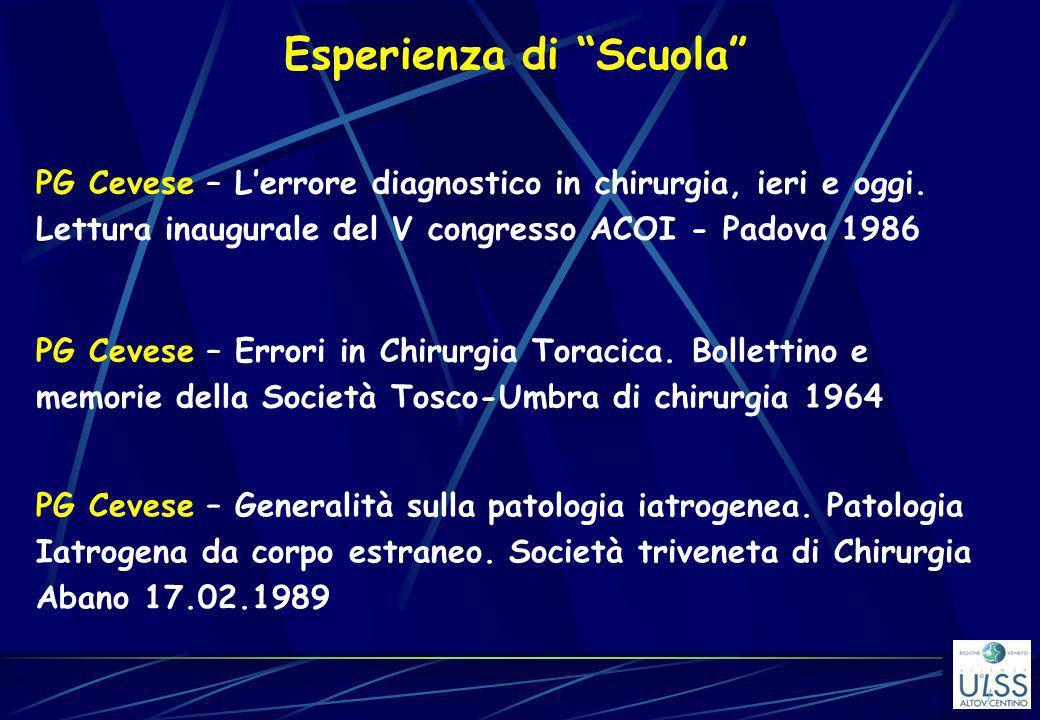 Esperienza di Scuola PG Cevese – Lerrore diagnostico in chirurgia, ieri e oggi. Lettura inaugurale del V congresso ACOI - Padova 1986 PG Cevese – Erro