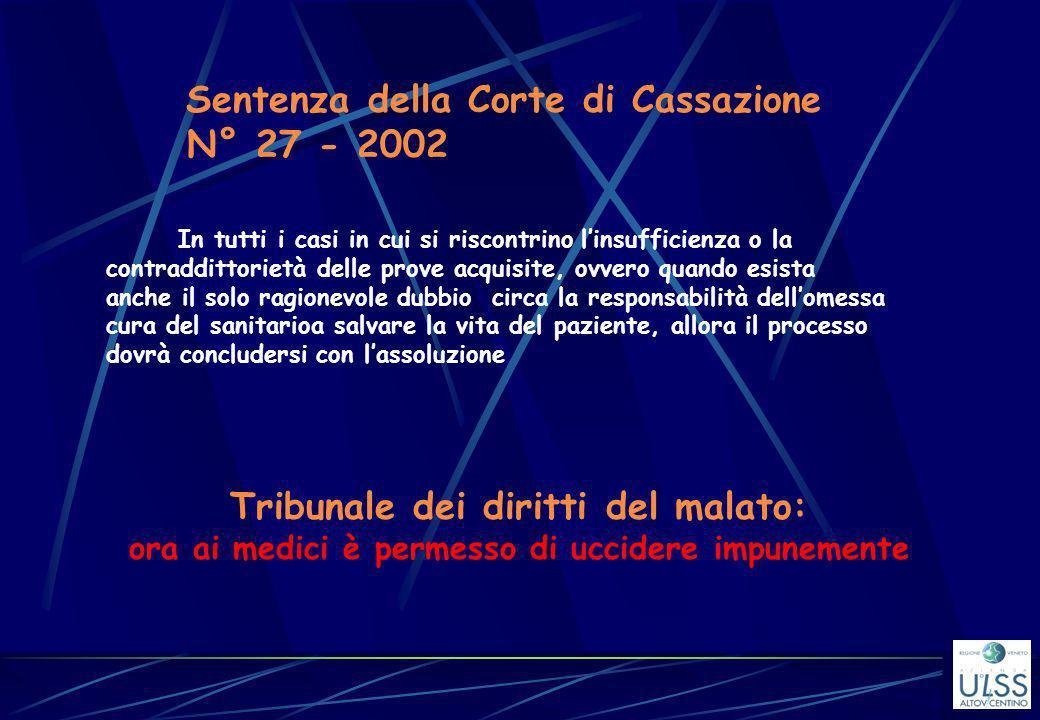 Sentenza della Corte di Cassazione N° 27 - 2002 In tutti i casi in cui si riscontrino linsufficienza o la contraddittorietà delle prove acquisite, ovv