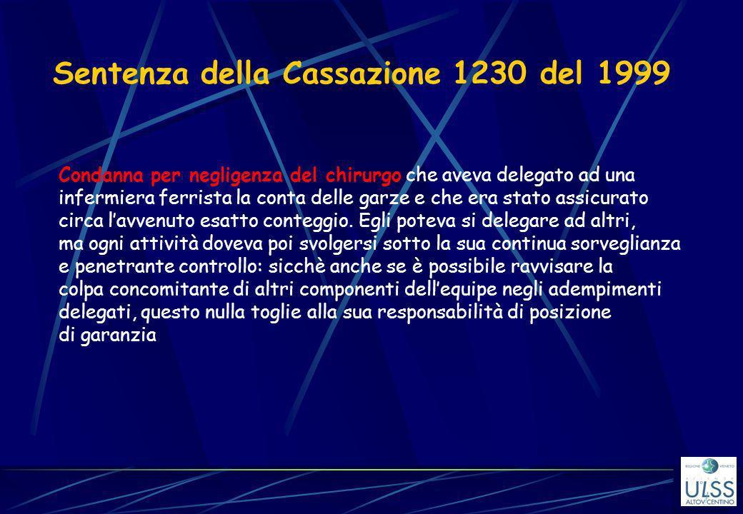Sentenza della Cassazione 1230 del 1999 Condanna per negligenza del chirurgo che aveva delegato ad una infermiera ferrista la conta delle garze e che