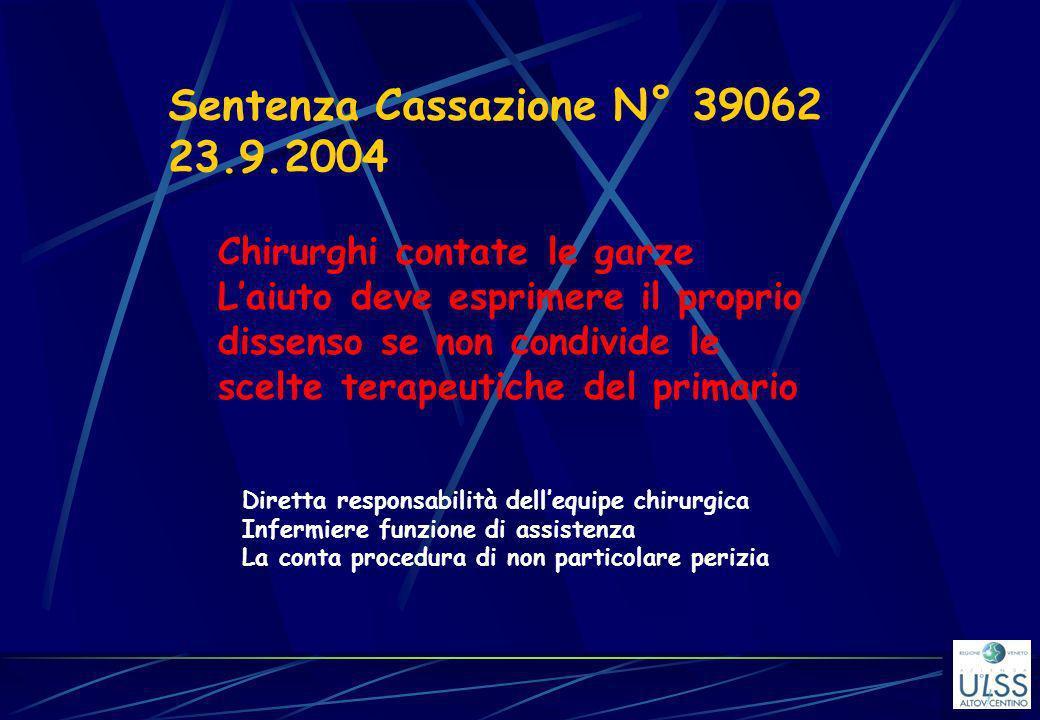 Sentenza Cassazione N° 39062 23.9.2004 Chirurghi contate le garze Laiuto deve esprimere il proprio dissenso se non condivide le scelte terapeutiche de
