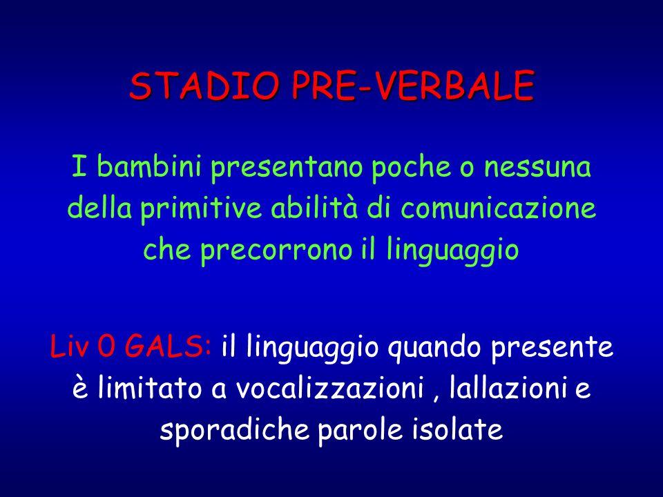 STADIO PRE-VERBALE I bambini presentano poche o nessuna della primitive abilità di comunicazione che precorrono il linguaggio Liv 0 GALS: il linguaggi
