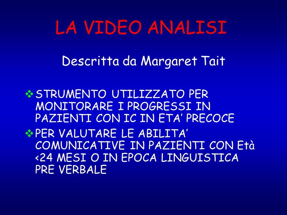 LA VIDEO ANALISI Descritta da Margaret Tait STRUMENTO UTILIZZATO PER MONITORARE I PROGRESSI IN PAZIENTI CON IC IN ETA PRECOCE PER VALUTARE LE ABILITA