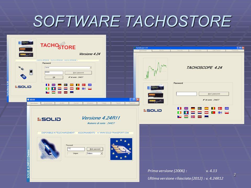 2 SOFTWARE TACHOSTORE Prima versione (2006) : v. 4.13 Ultima versione rilasciata (2012) : v. 4.24R12